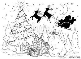 doodle illustration santa sleigh reindeer