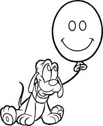 baby pluto balloon coloring page wecoloringpage