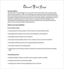 Assistant Manager Job Description For Resume by Restaurant Manager Job Description Job Description Examples For