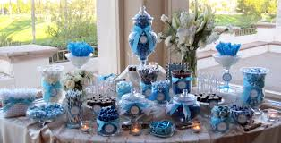 blue sky blue and white candy buffets bouquet wedding flower