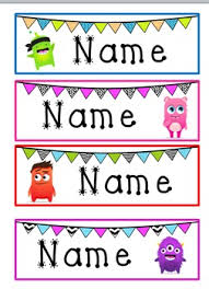 Desk Name Tags by Monster U0026 Bunting Desk Name Tags Class Labels Pinterest
