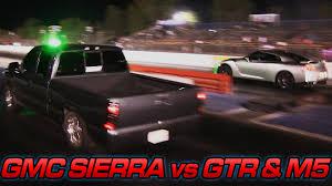 Nissan Gtr Truck - gmc sierra vs nissan gtr u0026 m5 youtube