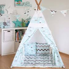 free love blue cloud kids play tent indian teepee children