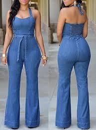 jean jumpsuit jean jumpsuit halter style elastic back belted sash