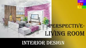 manual rendering 2 point interior design perspective drawing