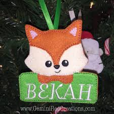 fox personalized embroidered ornament geminired creations