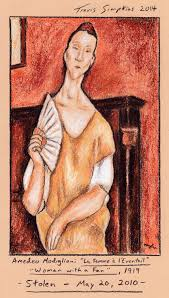 modigliani woman with a fan la femme à l éventail by amedeo modigliani stolen on may 20 2010