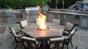 Firepit Chairs Hexagonal Table And Black Iron Chairs Using Irregular Flagstone