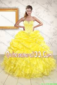 yellow sweetheart beading quinceanera dress and light pink short