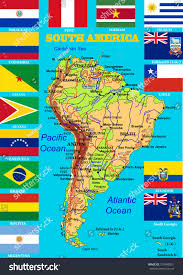 South America Flags Geographic Map South America Flags States Stock Vector 379549831