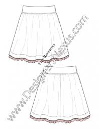 v20 wide waistband gathered skirt flat fashion sketch template