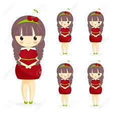 imagenes kawai de chicas conjunto de chicas lindas kawaii en vestido de cerezo con decoración