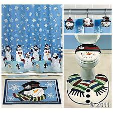 Christmas Bathroom Rugs Amazon Com Snowman Bathroom Set Includes Snowman Shower Curtain