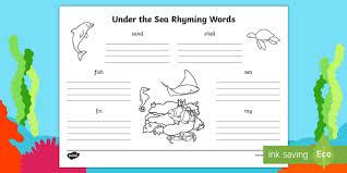 the sea rhyming words worksheet story books rhymes