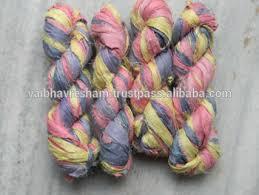 sari silk ribbon recycled soft multi colour sari silk ribbon for knitting craft