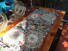 Mosaic Patio Tables Custom Made Reclaimed Lumber Inlaid Mosaic Outdoor Patio Table By