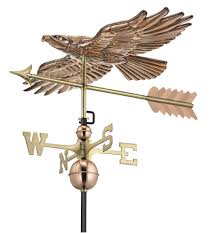 Maine Weathervanes Soaring Hawk With Arrow Weathervane Polished Copper 9699pa
