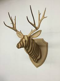 mini plywood trophy deer stag head contemporary wall hanging