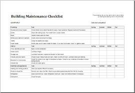 building maintenance checklist download at http www xltemplates
