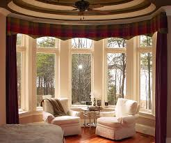 red bay window curtains on the yellow wall with round dining table