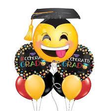 congrats grad emoji themed balloon with clear mini bouquet