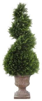 Juniper Spiral Tree With Decorative Vase Traditional