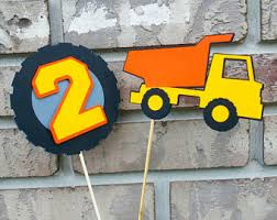 Construction Party Centerpieces by Truck Cake Topper Etsy