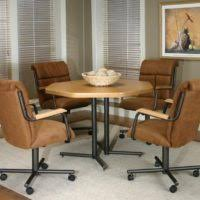 furniture brown rattan kitchen chairs with wheels and armrest