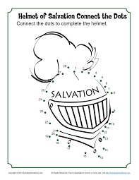 helmet of salvation connect the dots children u0027s bible activities