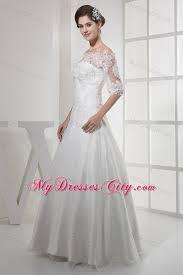 half lace wedding dress the shoulder princess lace wedding dress with half sleeves