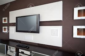 home theater tv modern home theater room interior with flat screen tv stock photo
