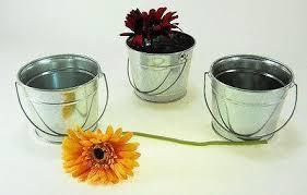 Tall Galvanized Planter by 3 Pc Galvanized Bucket W Handle 1 Qt Garden Wedding Planter