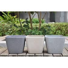 Square Plastic Planters by Eden 28cm Grey Sandstone Finish Square Plastic Planter My Garden