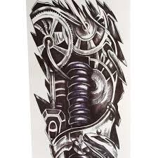 full arm sleeve temporary tattoo mechanical body arm art design
