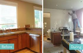 before and after an affordable kitchen makeover curbly
