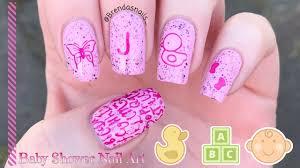 baby shower nail art tutorial brenda u0027s nails youtube