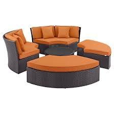 convene circular outdoor patio daybed set espresso orange