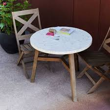 Mosaic Bistro Table Mosaic Outdoor Bistro Table White Marble West Elm