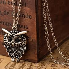 long owl pendant necklace images Vintage women owl pendant neclace long sweater chain jewelry jpeg