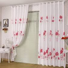 White Cotton Curtains Graceful White Cotton And Poly Red Floral Printed Curtains Buy