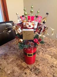 mini liquor bottle and chocolate christmas basket crafts