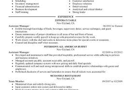 restaurant resume template assistant manager food and restaurant