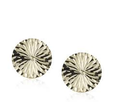 9ct gold earrings 9ct gold diamond cut disc stud earrings qvc uk