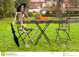 halloween skeleton decoration in garden stock photo image 60102020