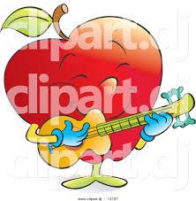 vector clipart of a cartoon red apple strumming a musical guitar