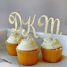 personalized cupcake toppers personalized gold glitter letter party cupcake cake topper picks