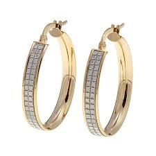 14k gold hoop earrings passport to gold 14k yellow gold pavé glitter hoop earrings