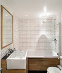 mid century modern bathroom tile white free standing soaking