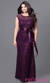 floor length lace and sequin plus prom dress promgirl