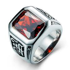 men rings stone images Horus high quality stainless steel men rings with red cubic jpg